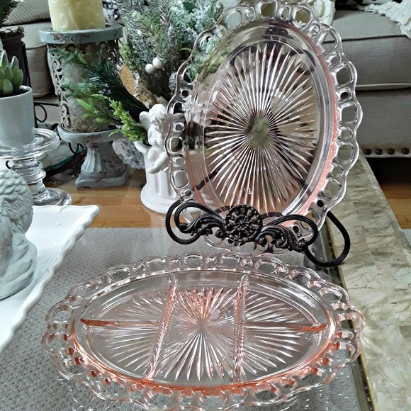 VINTAGE Pink DEPRESSION Glass OVAL Dishes